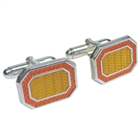 Hand Enamelled Sterling Silver Orange and Yellow Cufflinks