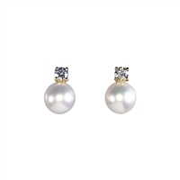 9ct or 18ct Yellow Gold Diamond and Cultured Pearl Earrings