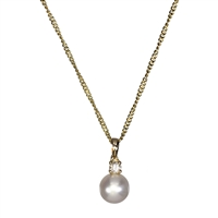 9ct Yellow Gold Cultured Pearl and Diamond Pendant and Chain