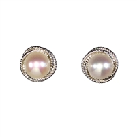 9ct White Gold Cultured Pearl Knot Style Earring Studs