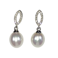 9ct White Gold, Diamond and Freshwater Pearl Earring Drops