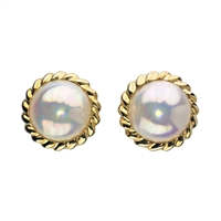 9ct Yellow Gold Rope Edge Mabe Pearl Earrings