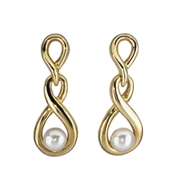 9ct Yellow Gold and Cultured Akoya Pearl Twist Drop Earrings