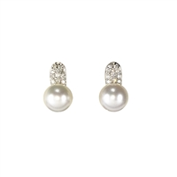 9ct White Gold Cultured Pearl and Diamond Stud Earrings