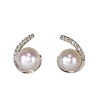 9ct White Gold Cultured Pearl and Diamond Swirl Design Earrings