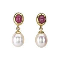 18ct Yellow Gold Cabochon Ruby and Freshwater Pearl Earrings