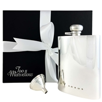 Heavy Sterling Silver Rectangular Kidney Shaped Hip Flask. 7oz with Captive Top and Sterling Silver Filling Funnel
