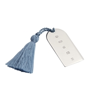 Sterling Silver Bookmark with Blue Tassel. Church Window Style.