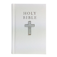 White Leather Bound Bible with Sterling Silver Cross