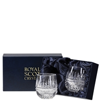 Pair Iona Design Barrel Shaped Whisky Tumblers by Royal Scot Crystal