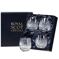 Four Iona Design Barrel Shaped Whisky Tumblers by Royal Scot Crystal