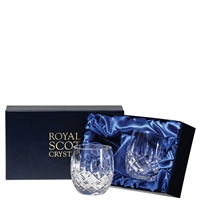 Pair London Design Barrel Whisky Tumblers by Royal Scot Crystal