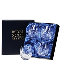 Four London Design Barrel Whisky Tumblers by Royal Scot Crystal