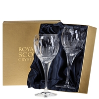 Pair Belgravia Lead Crystal Large Wine Glasses by Royal Scot Crystal