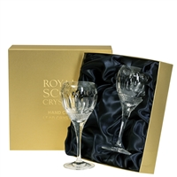 Pair Belgravia Lead Crystal Small Wine Glasses by Royal Scot Crystal