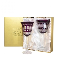 Pair Belgravia Amethyst Large Wine Glasses by Royal Scot Crystal