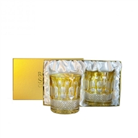 Pair Belgravia Lime Green Whisky Tumblers by Royal Scot Crystal