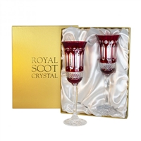 Pair Belgravia Ruby Red Champagne Flutes by Royal Scot Crystal