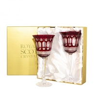 Pair Belgravia Ruby Red Large Wine Glasses by Royal Scot Crystal