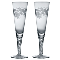 Pair of Jacobean Crystal Air Twist Champagne Flutes, Grapevine Design by Royal Scot Crystal
