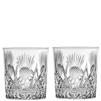 Pair Crystal Scottish Thistle Whisky Glasses by Royal Scot Crystal