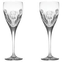 Pair Crystal Scottish Thistle Port or Sherry Glasses by Royal Scot Crystal