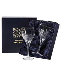 Pair Crystal Scottish Thistle Small Wine Glasses by Royal Scot Crystal