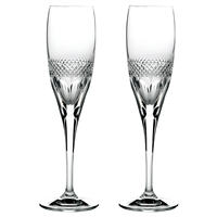Pair Crystal Diamonds Design Champagne Flutes by Royal Scot Crystal