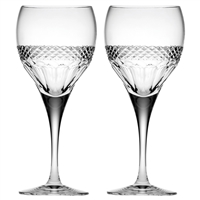 Pair Crystal Diamonds Design Large Wine Glasses by Royal Scot Crystal