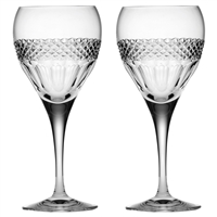 Pair Crystal Diamonds Design Small Wine Glasses by Royal Scot Crystal