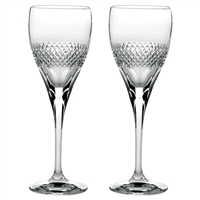 Pair Crystal Diamonds Design Port or Sherry Glasses by Royal Scot Crystal