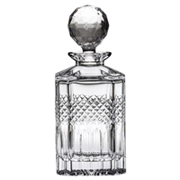 Crystal Diamonds Design Square Spirit or Whisky Decanter by Royal Scot Crystal