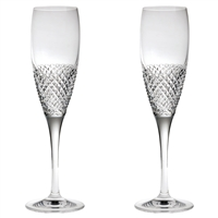 Pair Crystal Tiara Pattern Champagne Flutes by Royal Scot Crystal