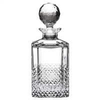 Crystal Tiara Pattern Traditional Square Whisky Spirit Decanter by Royal Scot Crystal