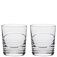 Pair Crystal Saturn Design Large Whisky Tumblers by Royal Scot Crystal
