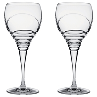 Pair Crystal Saturn Design Large Red Wine Glasses by Royal Scot Crystal