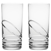 Pair Crystal Saturn Design Tall Water Tumbler Glasses by Royal Scot Crystal