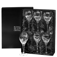 Boxed Set of Six Crystal Saturn Design Large Wine Glasses in Presentation Box by Royal Scot Crystal