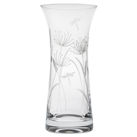 Crystal Dragonfly Design Large Lily Vase by Royal Scot Crystal