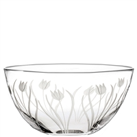Crystal Wild Tulip Design Large Fruit or Salad Bowl by Royal Scot Crystal
