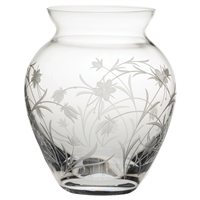Crystal Meadow Flowers Design Large Posy Vase by Royal Scot Crystal