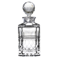Crystal Oxford Design Square Spirit Decanter with Sterling Silver Collar by Royal Scot Crystal