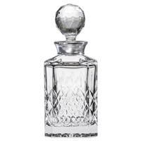 Crystal Mayfair Design Square Spirit Decanter with Sterling Silver Collar by Royal Scot Crystal