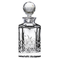 Crystal Westminster Design Square Spirit Decanter with Sterling Silver Collar by Royal Scot Crystal