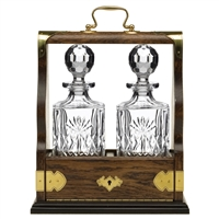 Solid Oak Double Tantalus with Kintyre Pattern Crystal Decanters by Royal Scot Crystal
