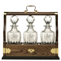 Solid Oak Triple Tantalus with Kintyre Pattern Crystal Decanters by Royal Scot Crystal