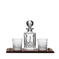 Solid Oak Bar Tray with Westminster Spirit Decanter and Glasses by Royal Scot Crystal