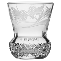 Pair Flower of Scotland Thistle Shaped Crystal Tot or Dram Glasses by Royal Scot Crystal