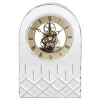 Hand Cut Crystal Quartz Mantle Clock, London Design by Royal Scot Crystal