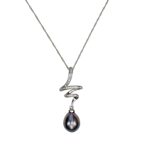 18ct White Gold Tahitian Black Pearl and Diamond Zig-Zag Pendant and Chain